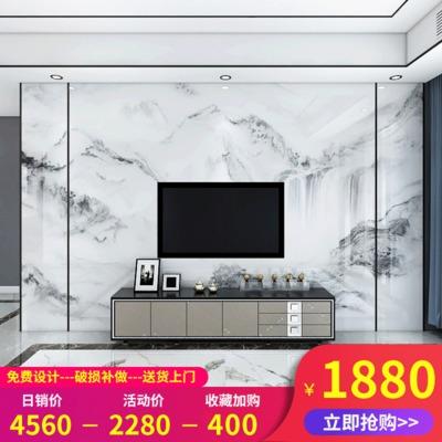 陶瓷薄板岩板背景墙客厅电视背景墙瓷砖微晶石影视墙新中式山水画