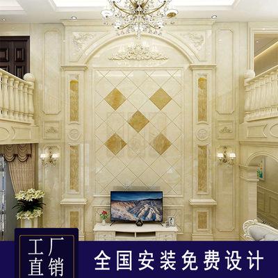 别墅复式楼欧式大理石罗马柱电视背景墙瓷砖微晶石客厅影视墙岩板