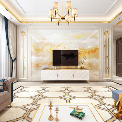 现代简约电视背景墙瓷砖微晶石客厅欧式大理石罗马柱影视墙山水画