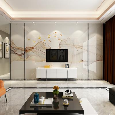 现代简约客厅电视背景墙瓷砖微晶石材轻奢岩板背景墙大理石影视墙