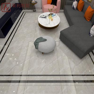 现代简约轻奢风客厅地砖黑白灰 通体大理石瓷砖800*800金刚釉面砖