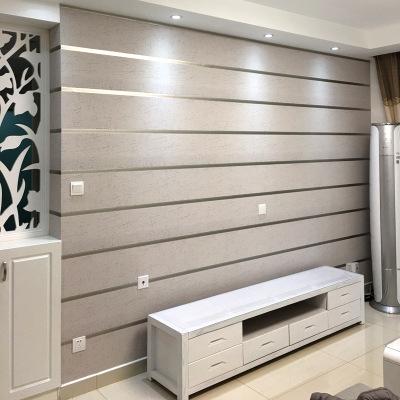 3D立体简约现代条纹无纺布墙纸鹿皮绒客厅电视背景墙壁纸卧室