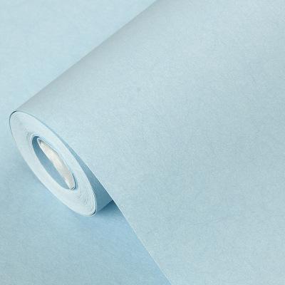 家用天蓝色壁纸长纤无纺布简约现代客厅卧室背景墙莫兰迪流行墙纸