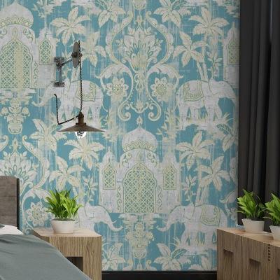 所泽泰式风格壁纸印度风大象图案蓝色红色背景墙墙纸