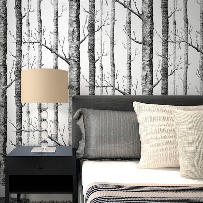 抽象黑白树枝无纺布墙纸树干树枝白桦树林客厅电视背景墙餐厅壁纸
