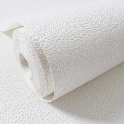 现代简约北欧白色硅藻泥纯素色颗粒纹墙纸餐厅服装店壁纸无纺布