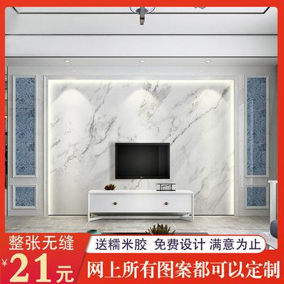 现代简约客厅电视背景墙壁纸大理石纹无纺布墙纸壁画无缝墙布定制