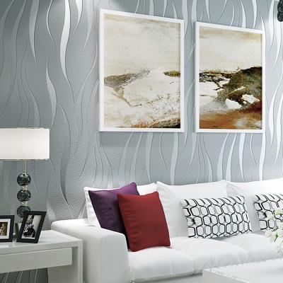 简约时尚大气波浪条纹灰色系电视背景墙纸现代客厅沙发无纺布壁纸