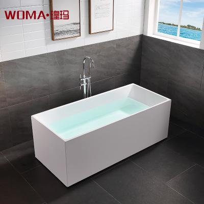 瑝玛卫浴佛山厂家热销家用小户型长方形亚克力独立浴缸全裙浴盆