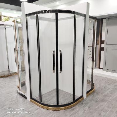 淋浴房黑色镶嵌银色浴室干湿分离整体玻璃隔断沐浴卫生间洗澡间