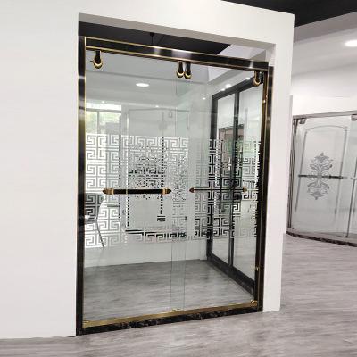 钛金304不锈钢一字型淋浴房定制家用简易淋浴隔断拉丝黑色屏风