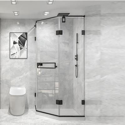 淋浴房钻石型简易洗浴沐浴房卫生间玻璃隔断定制极简黑框现代简约