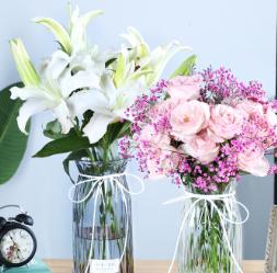 创意彩色透明玻璃花瓶大号水培富贵竹百合花瓶玻璃客厅插花瓶摆件