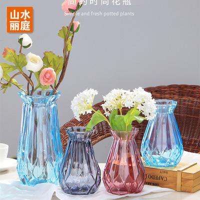 批发新款小钻石玻璃花瓶彩色喷色插干花瓶欧式花瓶水培富贵竹