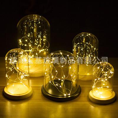 永生花玻璃罩火树银花LED铜线串灯座客厅装饰摆件防尘罩 厂家直供