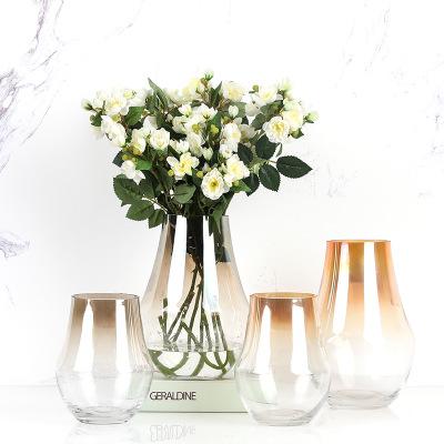 北欧现代玻璃电镀花瓶过渡色水培玻璃花瓶家居摆件工艺品干花花器