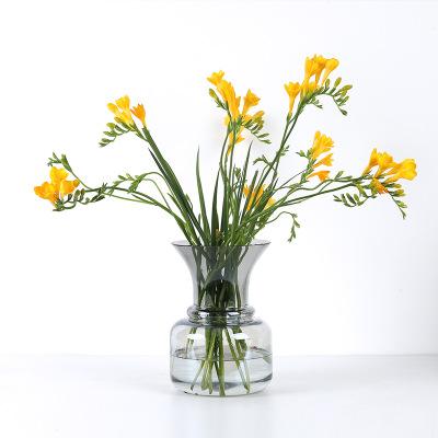 创意彩色水培花瓶透明玻璃花器插花干花现代简约家用装饰客厅摆件