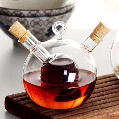 批发玻璃双口调料瓶圆球油瓶酱油瓶多用调味瓶