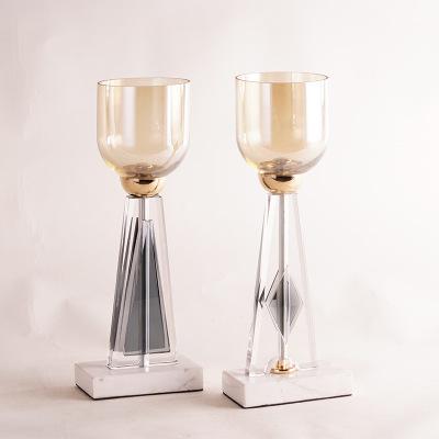 轻奢大理石金属烛台工艺品 创意个性玻璃蜡烛台家居样板间摆件