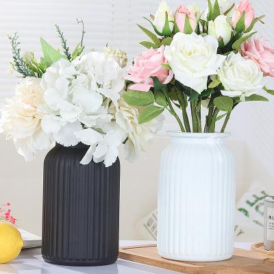 批发欧式复古蒙砂彩色竖纹玻璃花瓶家居摆件条纹插花瓶水培花瓶