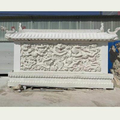 厂家供应大理石浮雕装饰 石雕九龙壁浮雕雕刻加工 汉白玉石雕壁画