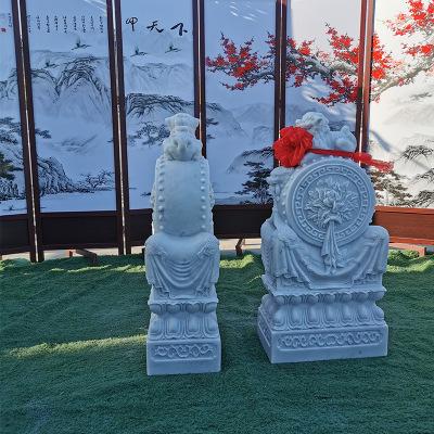 石雕汉白玉狮子门墩 抱鼓石 庭院门口摆放高档门鼓石鼓价格优惠