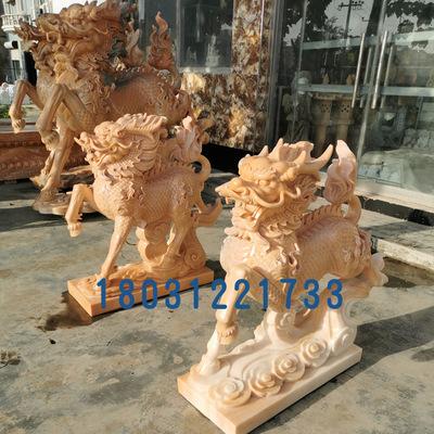 厂家直销晚霞红汉白玉石雕大象石雕麒麟 狮子多种动物摆件可定制