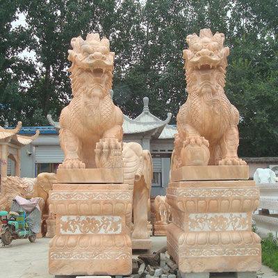 厂家供应石雕动物麒麟雕塑一对酒店门口摆件瑞兽晚霞红石雕麒麟
