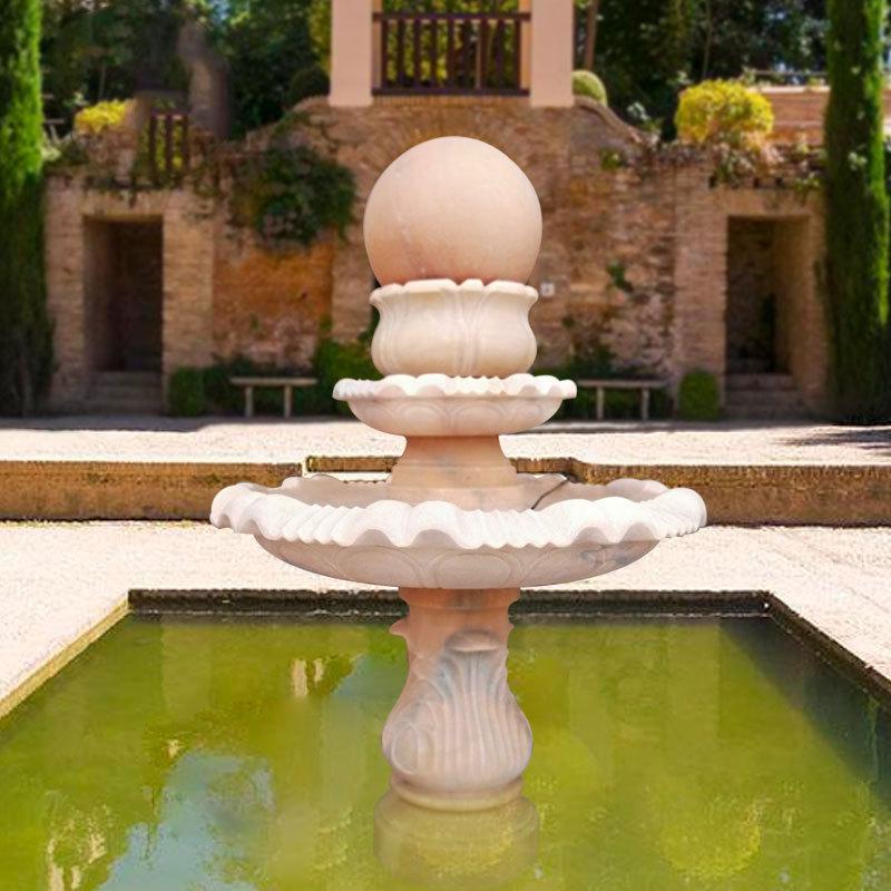 厂家直销石头转运球流水摆件新款石雕喷泉中式室内晚霞红石雕喷泉