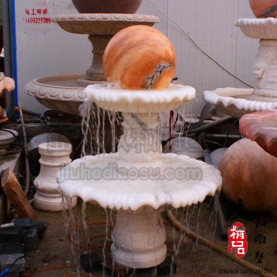 曲阳厂家石雕喷泉水钵 小区庭院转动风水球喷泉 汉白玉跌水钵石雕