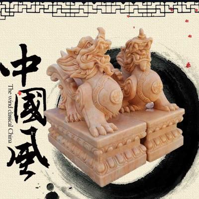 石雕厂家直销貔貅晚霞红家居门口装饰小貔貅一对酒店大堂动物摆件