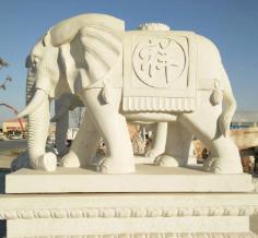供应定制石雕汉白玉大象一对别墅酒店公司门口装饰摆件