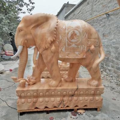 现货供应石雕大象晚霞红酒店公司门口摆件吉祥如意象一对