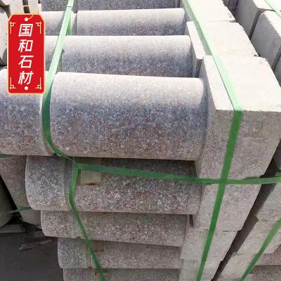 光面花岗岩挡车柱 带底座石材圆柱 拦路障碍异型石柱安装异型摆件