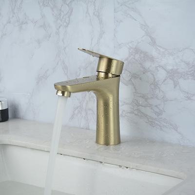 SUS304不锈钢拉丝金冷热水龙头卫生间浴室洗手台龙头