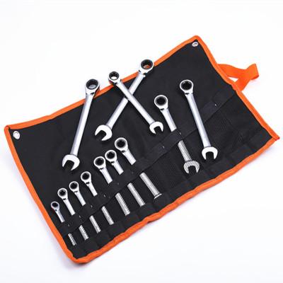 定宇工具厂家销售铬钒钢活动两用棘轮扳手套装72齿12PCS 8-19MM