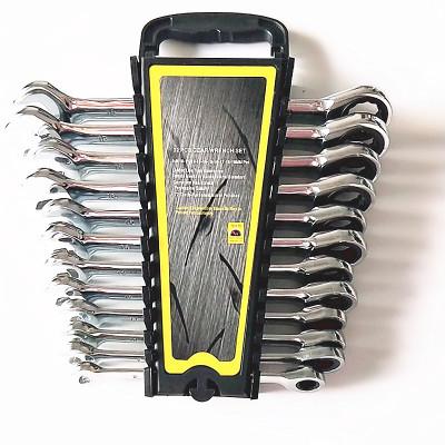 定宇工具8-22MM铬钒钢家用手动工具 开口两用扳手套装