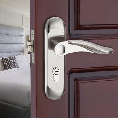 锌合金单舌钛合金五金锁具室内机械执手门锁通道卧室过道门锁批发
